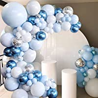 YiYunTE Balloon Arch Kit Birthday Decor 105pcs Blue Latex Balloon Pack for Baby Shower Decor Blue White Balloon Garland…