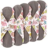 Wegreeco Bamboo Reusable Sanitary Pads - Cloth Sanitary Pads | Bladder Support & Incontinence Pads | Reusable Menstrual Pads - Pack of 5 (Small, Lovely Bird)