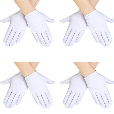 SATINIOR 4 Pairs White Kids Costume Gloves Dress Cotton Gloves Short Formal Gloves for Boys and Girls: Clothing