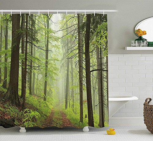 - Abaysto Outdoor Trail Trough Foggy Alders Beeches Oaks Coniferous Grove Hiking Theme Light Green Light Yellow Bathroom Decor Shower Curtain Sets with Hooks Polyester Fabric Great Gift