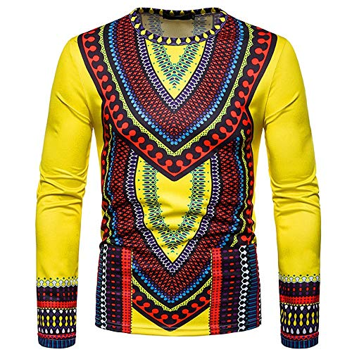Indians Tall Team Flag - WUAI Men's Casual Shirts African Indian Print Dashiki Long Sleeve Pullover Fashion Personality Slim Fit Top Blouse(Yellow,US Size XS = Tag S)
