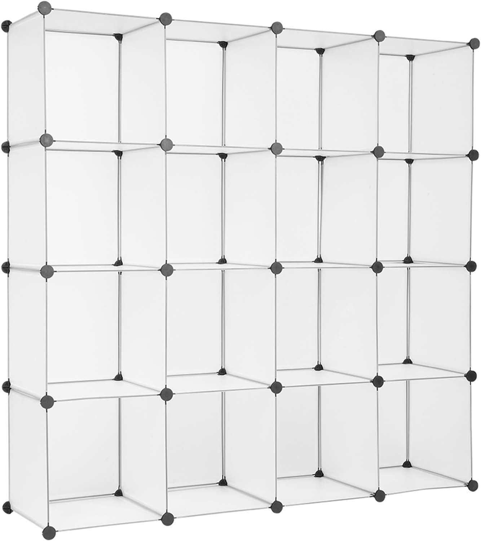 BRLUCKY Furniture 20 Storage Cube Organizer Plastic Cubby Shelving Drawer Unit, DIY Modular Bookcase Closet System Cabinet with Translucent Design Craft Cabinet, Home Decor