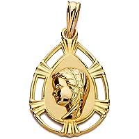 Medalla Oro 18K Colgante 23mm. Virgen Niña Lágrima Borde Detalle Líneas Calado Borde