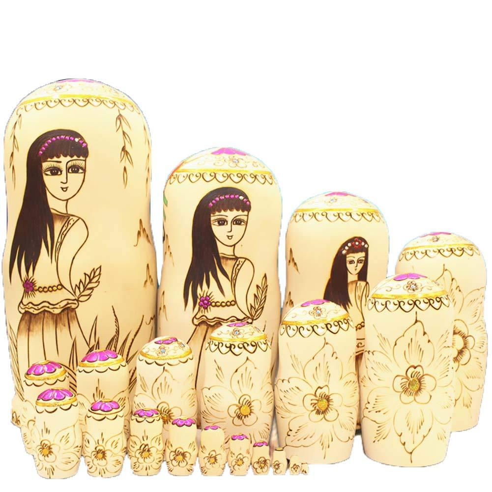 DADAO 20 Pezzi Bambole matrioska Made in Russia Natale nidificazione Bambole per Le Ragazze, per Bambini Giocattolo Compleanno casa Decorazione Genitore-Bambino Tempo,1