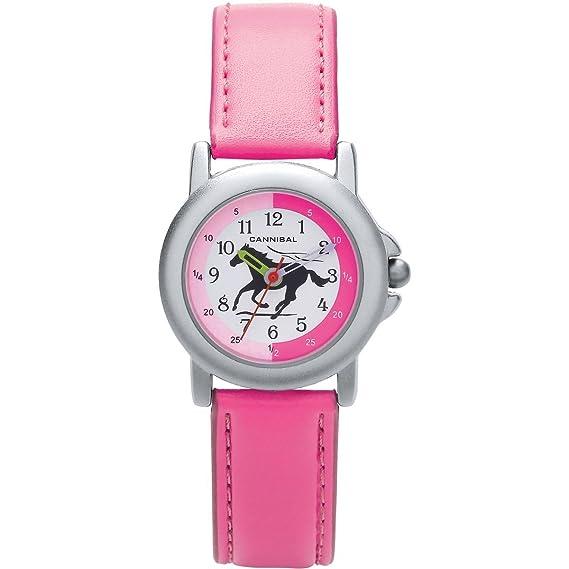 Reloj infantil para aprender la hora Caníbal correa de color rosa negro caballo en esfera blanca: Amazon.es: Relojes