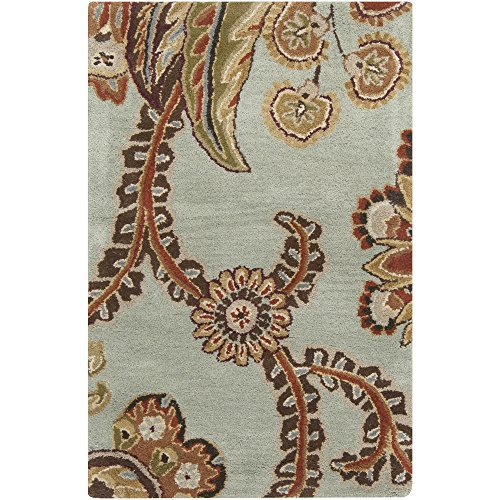 Surya Aurora AUR-1005 Classic Hand Tufted 100% Wool Slate Gray 9' x 13' Paisleys and Damasks Area Rug