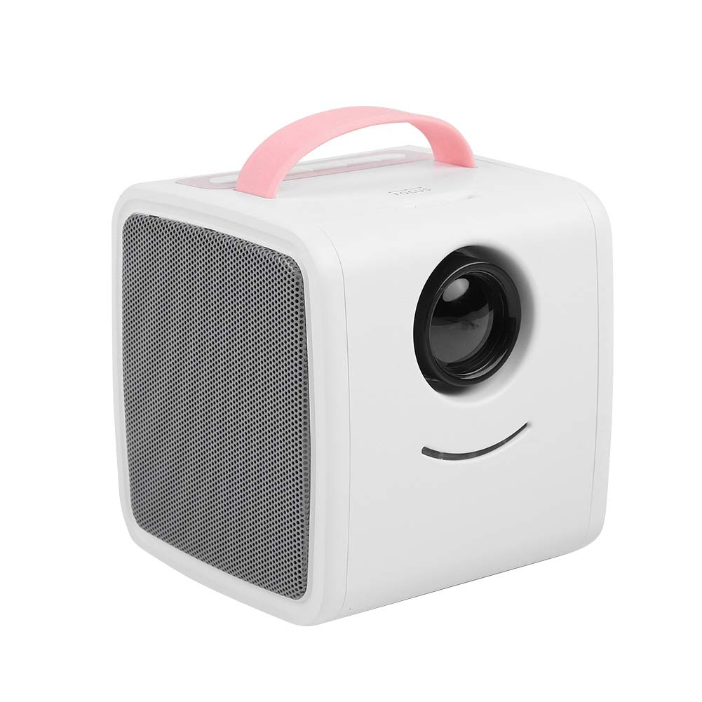 ASHATA Mini Proyector,Educació n Temprana Proyector LED Portá til para Ver Videos,Escuchar Mú sica, Estudiar.Cine en Casa para Regalo de los Niñ os(Protege los Ojos,Apoyo Mú ltiples Idiomas)(Rosa) Escuchar Música