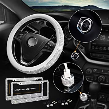 Key Start Ring+License Plate Frame Crystal Steering Wheel Cover Car USB Charger GES Univeral Rhinestone Diamond Leather Steering Wheel Set 15 Female Anti-skid Wheel Steering Wheel Cover