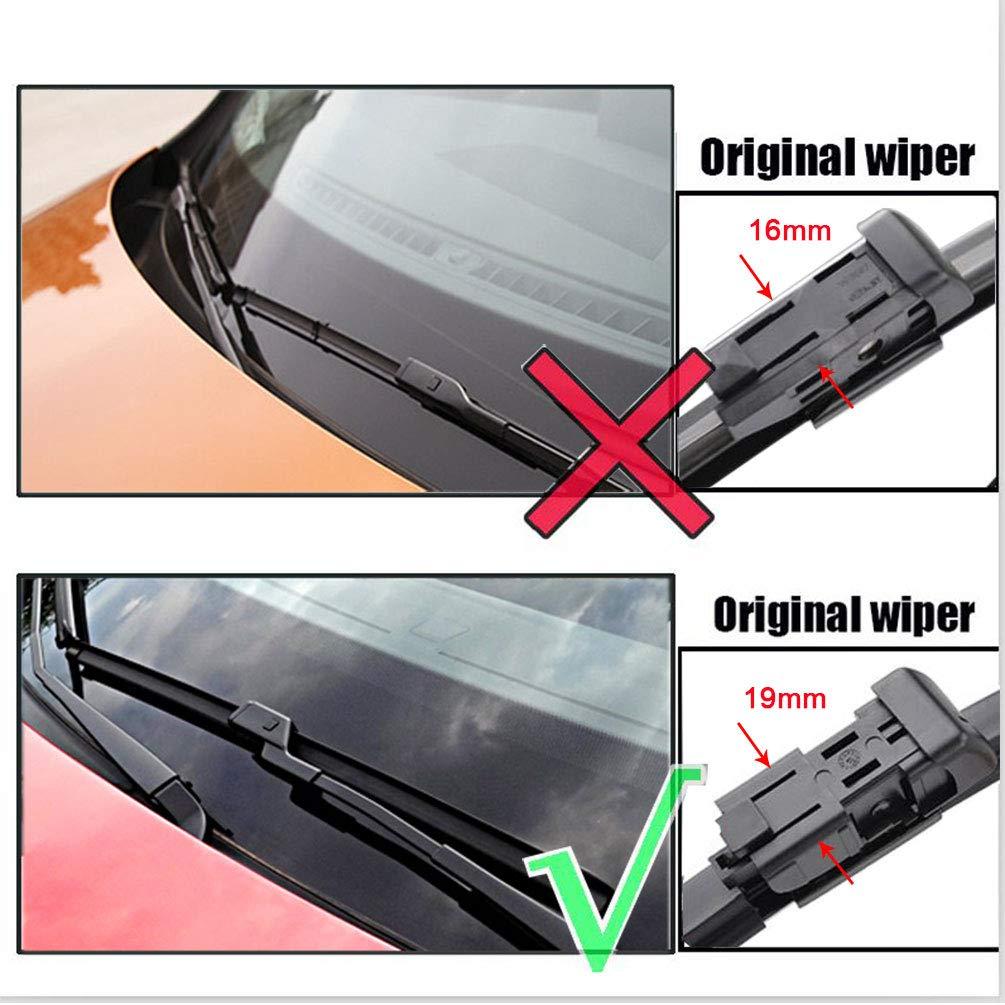 Set of 2 Top Lock 16mm 24//19 2 wiper Factory Fit VW Jetta 2011-2016 VW PASSAT MK6 B7 2012-2018 Replacement Wiper Blade Set