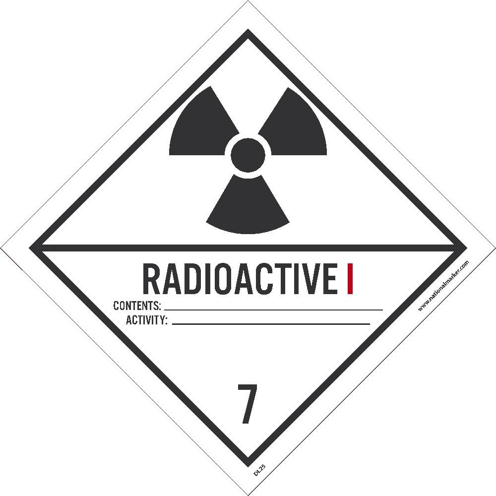 Radioactive I DL25AL National Marker Dot Shipping Labels 500//Rl Ps Paper 4 Inches x 4 Inches