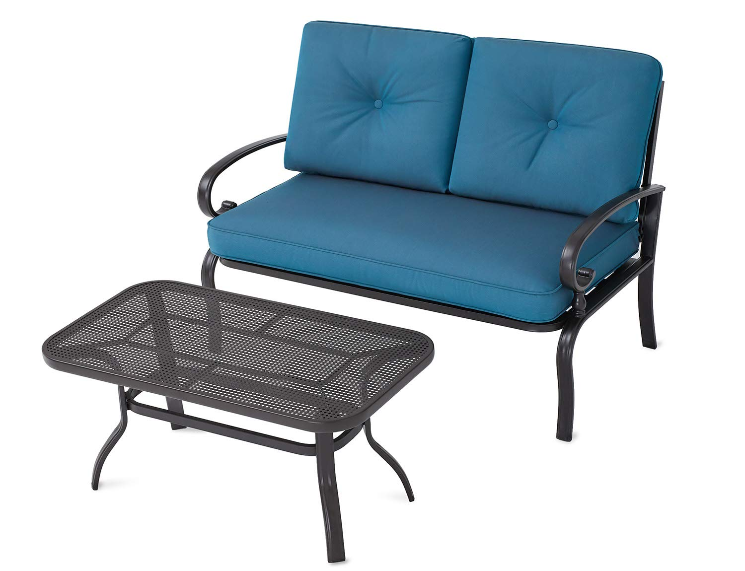 Incbruce Outdoor Patio Furniture LoveSeat 2-Piece & Bistro Coffee Table Set Furniture Bench with Cushion | Lawn Front Porch Garden, Wrought Iron Frame, Navy Blue