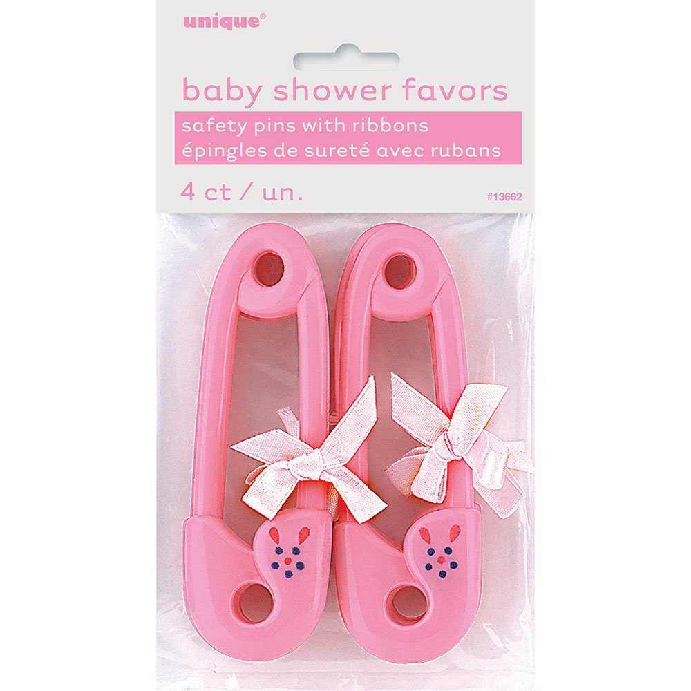 """40 x 1.5/"""" Pink Plastic Safety Pins Baby Shower Favours Gender Reveal Party Girls"""