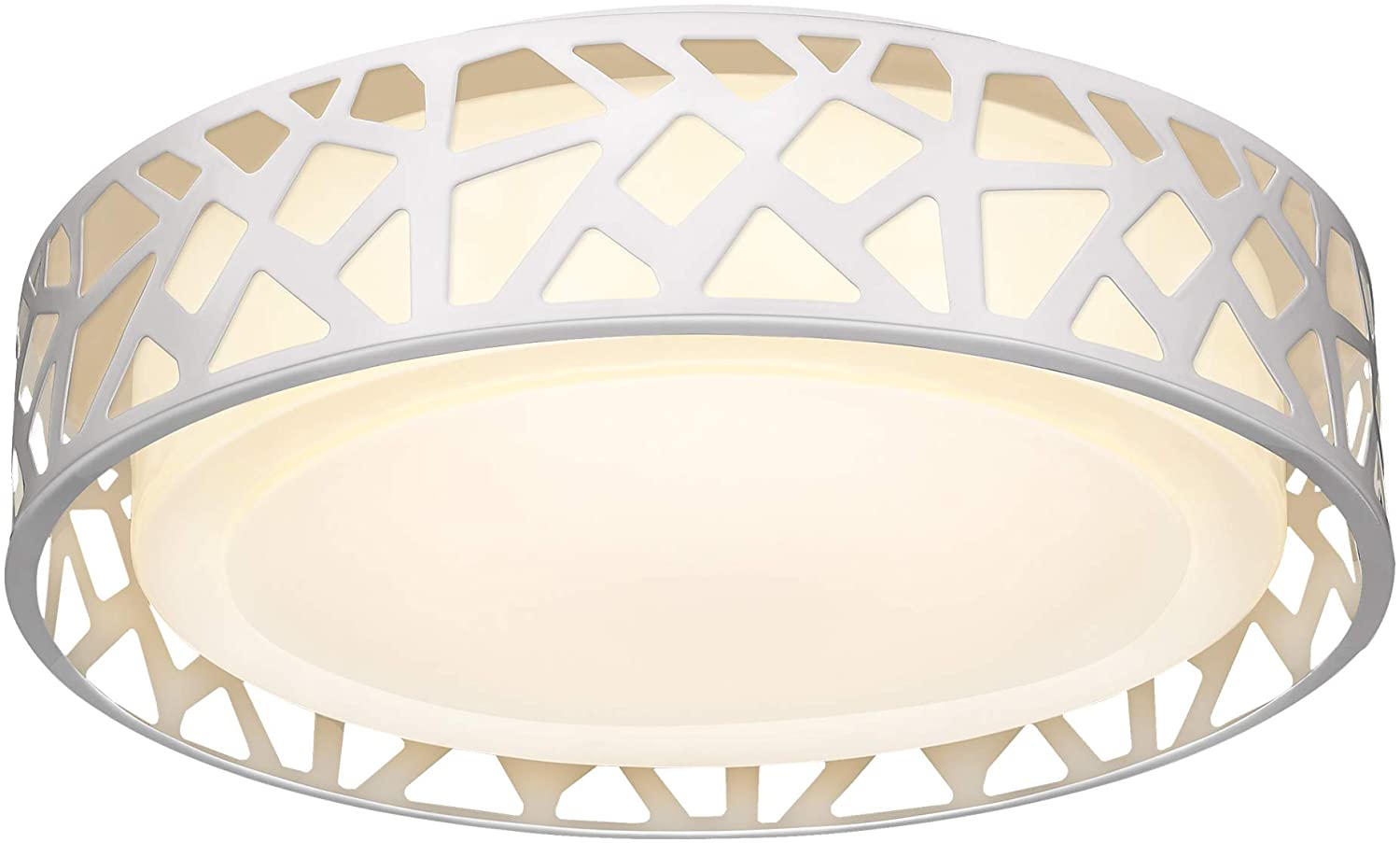 LED Flush Mount Ceiling Light, VICNIE 14 Inch Dimmable Round Lighting Fixture, 20W 1400 Lumens 3000K Warm White, ETL Listed for Kitchen, Hallway, Bedroom, Stairways (Metal Body and Acrylic Shade)
