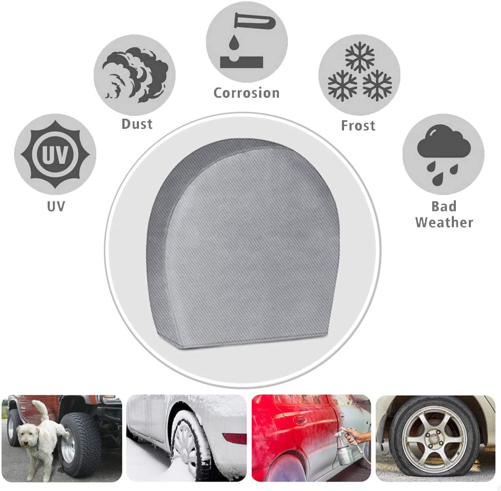 29-31.75 Waterproof UV Coating Tire Protectors for Trailer Truck Camper Auto Tire Covers for RV Wheel Set of 4 Extra Thick 5-ply Motorhome Wheel Covers