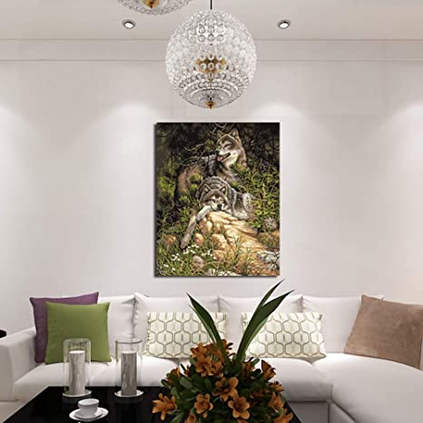 Amazon.com: Wall Art - Double Rest Wolf Canvas Painting Diy Living ...