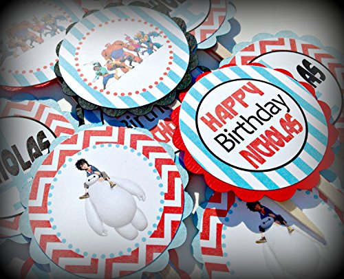 Hero Arts Cupcake (12 - Cupcake Toppers - BIG Hero 6 Inspired Collection - Red Chevron Blue Stripes with Black Accents - Party Packs Available)