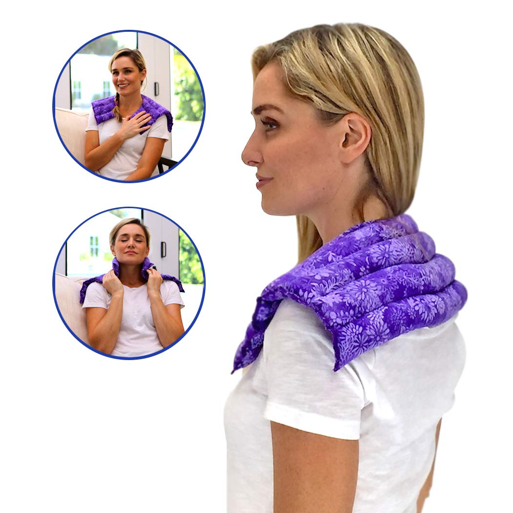 Nature Creation- Neck & Shoulder Wrap - Herbal Heating Pad - Hot & Cold Therapy Pack (Purple Flowers) by Nature Creation