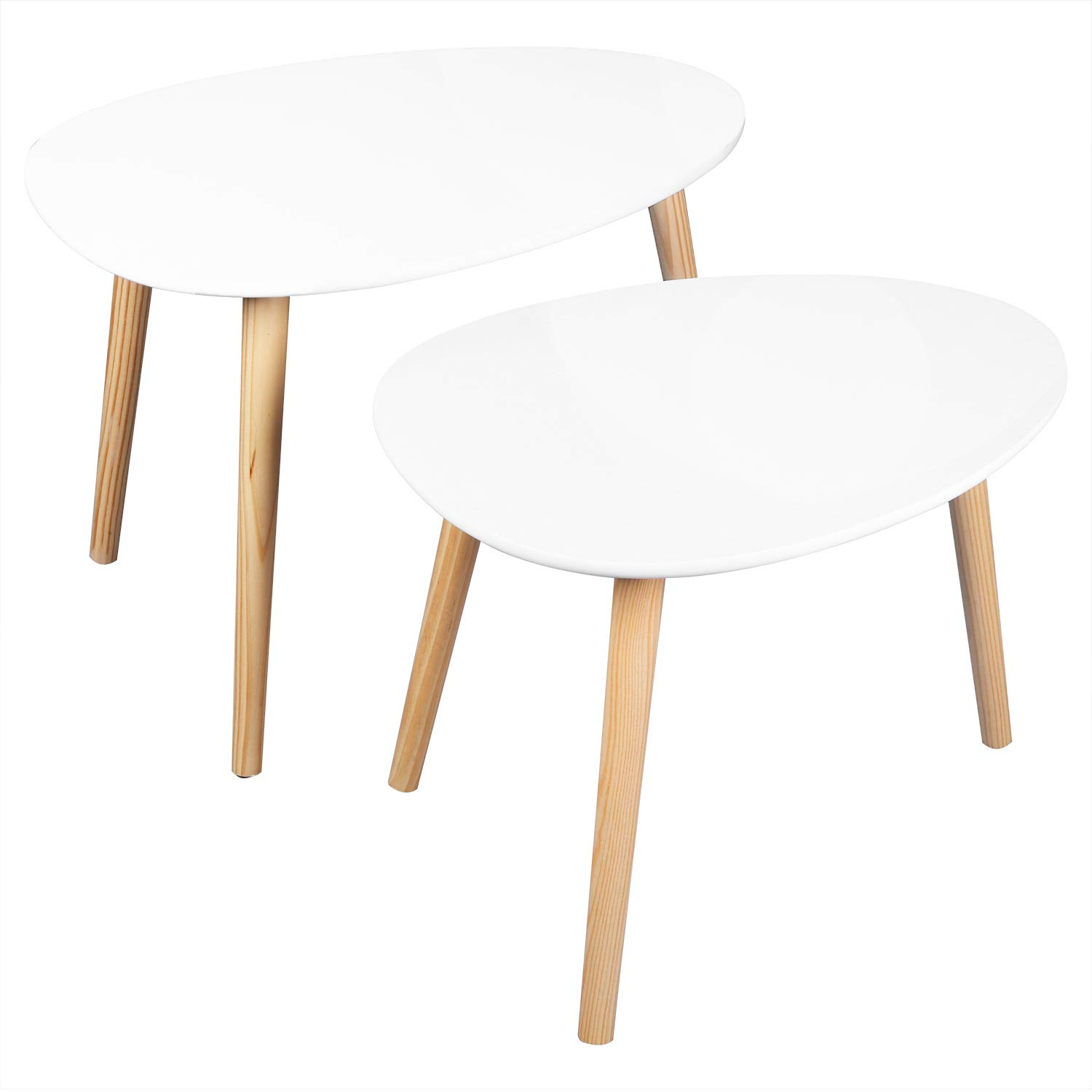 Bonnlo Nesting Tables End Tables Set of 2 for Living Room, Home and Office, White by Bonnlo