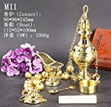 HaoLin Brass thurible Censer Incense Burner with Bell & Boat & Spoon Set for Church M11