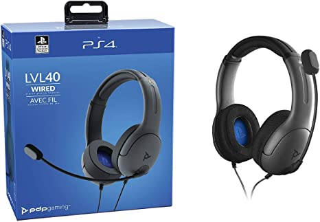 PDP - Auricular Stereo Gaming LVL40 Con Cable - Gris (PS4): Amazon ...