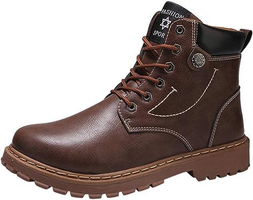 Logobeing Botines Hombre Antideslizantes Outlet Zapatillas Botas Altas de Invierno Botas Calientes de Cabeza Redonda con Botas de Herramientas Zapatos (42, Brown): Amazon.es: Zapatos y complementos