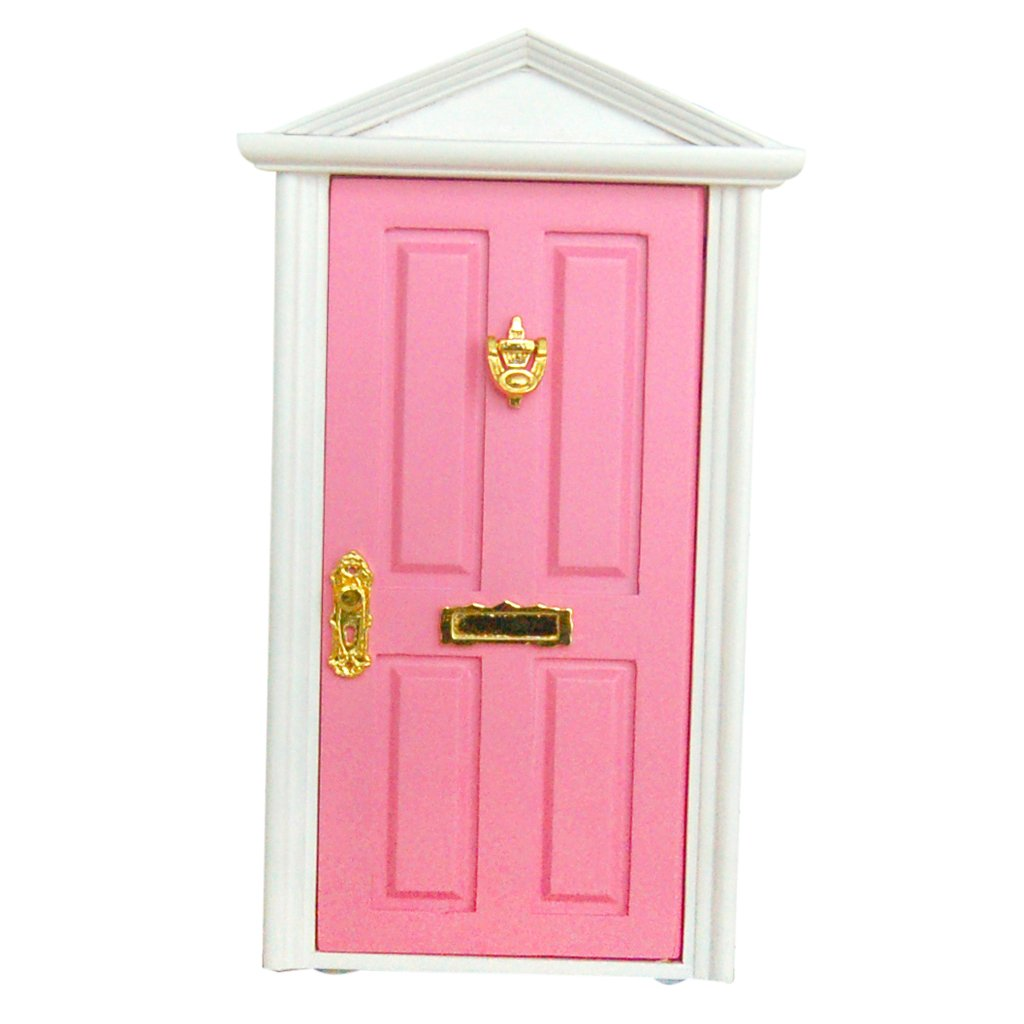 Pink Painted Wooden Fairy Front Door with Knocker Plated Dolls House Miniature Accessory Generic