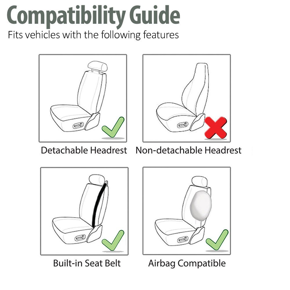 FH Group PU309GRAYBLACK102 Gray/Black Front PU Leather Seat Cover, Set of 2 (Built in Seat Belt Compatible Airbag Ready) by FH Group (Image #4)