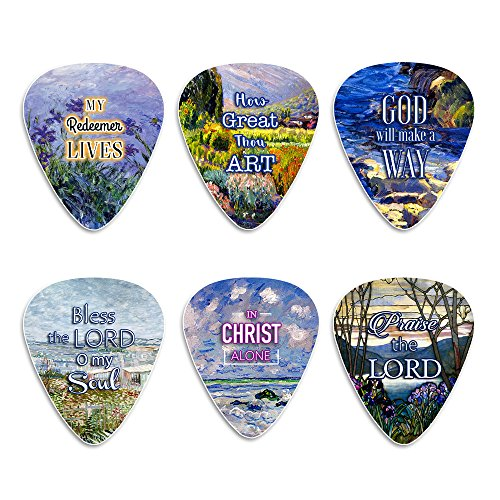 Christian Guitar Picks for Gospel Music - In Christ Alone (12-Pack) - Medium Celluloid - Best Inspirational Music Gifts for Church Worship Team, Pastor, Youth Group, Dad, Mom, Boys, Girls