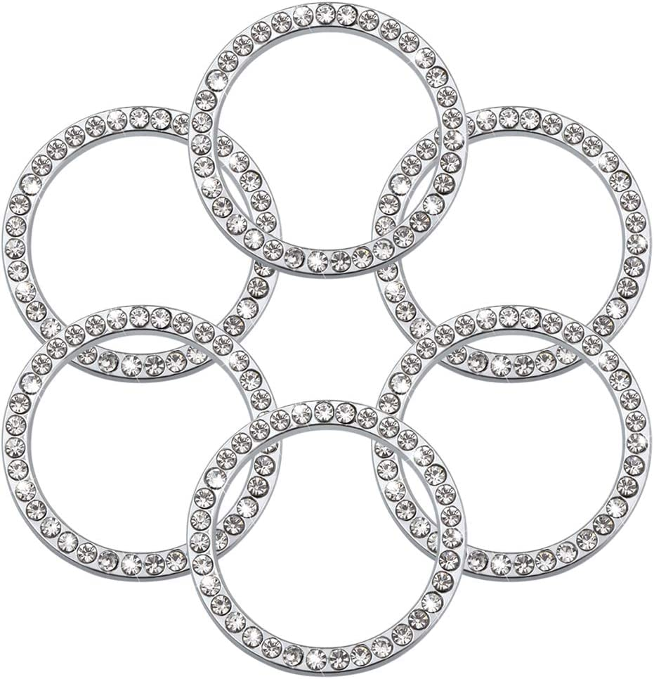 6 Pieces Crystal Rhinestone Car Bling Decorations Ring Emblem Sticker Decor Car Engine Start Stop Accessories for Men and Women