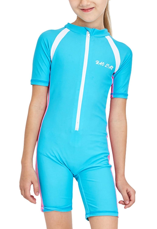 Girls One-Piece Swimsuit Sun Protection Short Sleeve Rashguard Wetsuit UPF50+ HaoLian