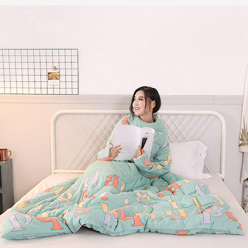 Danhjin Blanket with Sleeves and Pockets, Super Soft Home Adults Wearable Throw Robe (A) by Danhjin (Image #4)