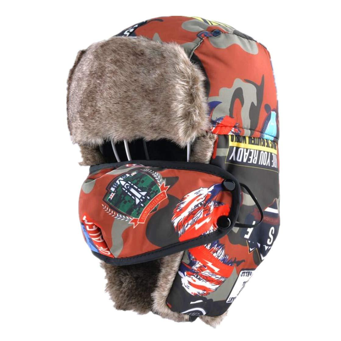 Unisex Bomber Hats for Winter Kids Outdoor Faux Fur Thick Caps Ear Flaps Warm Children Camo Trapper Hat