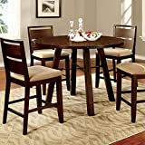Dwight Transitional Vintage Dark Oak 5-Piece Round Counter Height Dining Set