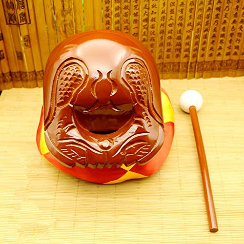 Buddhist Camphorwood Wooden Fish Temple Block Zen Drum with Mat 4 inch