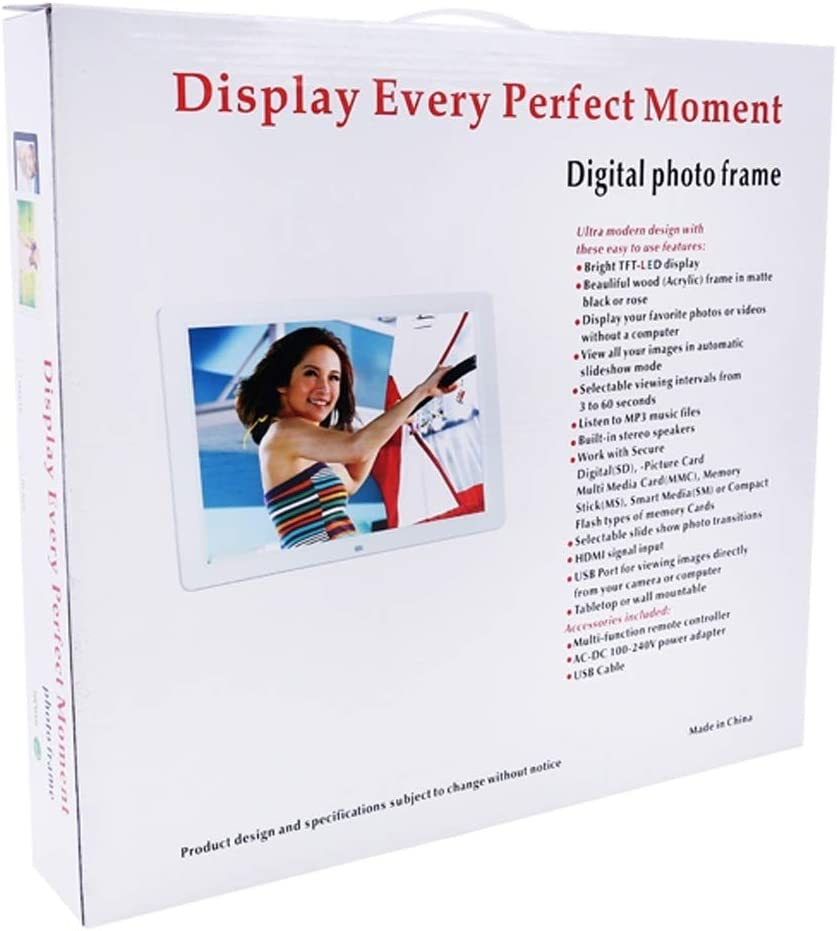 Support USB//SD Card Input//OTG Allwinner Digital Photo Frame Color : White KANEED 15.0 inch LED Display Digital Photo Frame with Holder//Remote Control Black