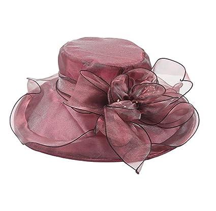 Queenmart Womens Ladies Organza Church Wide Brim Tea Party Wedding Hat  Fancy Kentucky Derby Fascinator Cap (Beige) at Amazon Women s Clothing  store  f1d4a031aa7a