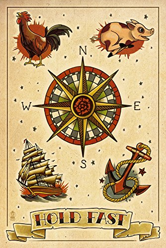 Tattoo Flash Sheet - Sailors (16x24 Giclee Gallery Print, Wall Decor Travel Poster)