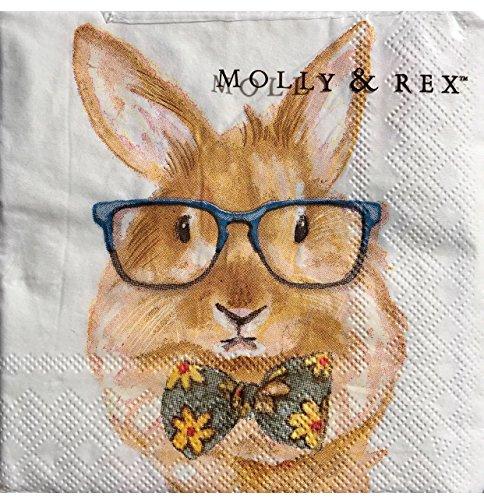 Molly Rex 40-ct Cocktail Beverage Paper Napkins, Bowtie Bunny 17830]()