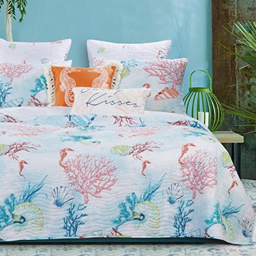 Quilt and Shams Set 3 Piece Coastal Beach Under Sea Reef Seashell, Printed Bedding Luxury Soft Microfiber Lightweight Reversible Bedspread Coverlet King Size, Aqua Coral - Includes Bed Sheet Straps (Themed Seashore Bedspreads)