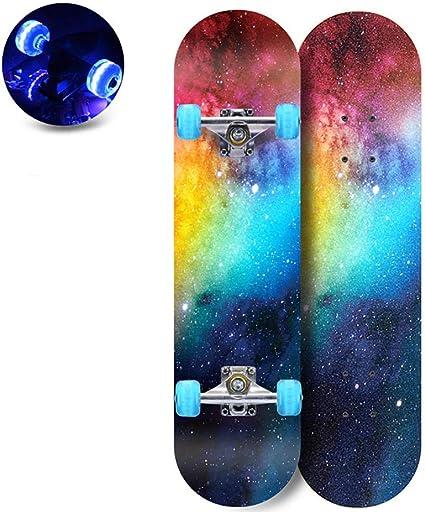 hdfj12142 28x 8 Skateboard per Adolescenti LED Light up Wheels Longboard Skateboard con Strumento a T per Skate Tutto in Uno per Adulti Principianti Ragazze Ragazzi Bambini dai 12 Anni