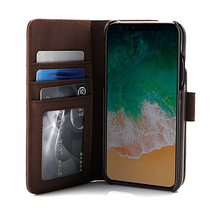 Prodigee [Wallegee] for Apple for Apple iPhone X 2017- iPhone Xs 2018 case,  Brown Leather Cover Wallet Credit Card ID Money Holder Case 2-in-1 Flip