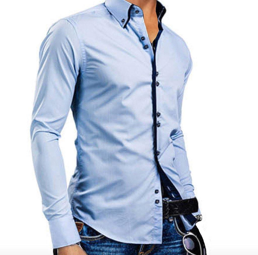 Elonglin Mens Casual Button Down Shirts Long Sleeve Contrast Color EL.CY0251