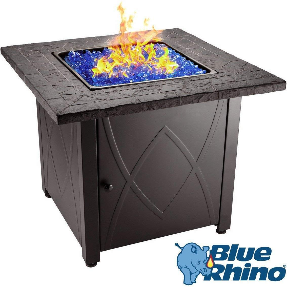 Blue Fireglass Blue Rhino Outdoor Propane Gas Fire Pit