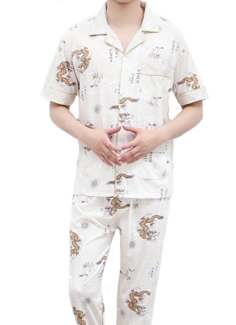 SportsX Men's Fine Cotton Plus Size Patterned Relaxed-Fit Pjs Set 1 L