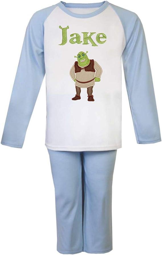 Shrek Blue & White - Conjunto de pijama personalizado bordado con el nombre de tu elección, disponible en 5 tamaños.
