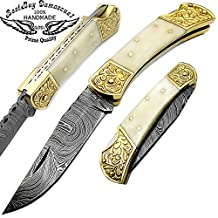 Camel Bone Brass Double Bloster With Scrimshaw Work 7.6'' Handmade Damascus Steel Folding Pocket Knife With Back Lock 100% Prime Quality