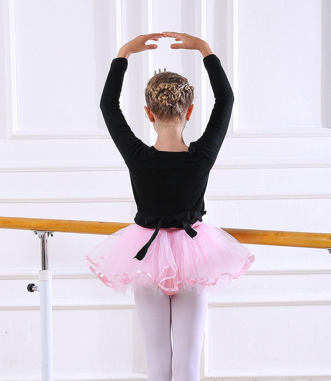 ae542deb6 Amazon.com: PINKDAA Kids Girl Dance Sweater Ballerina Long Sleeve Knit Wrap  Top Ballet Cardigan: Clothing