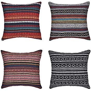 Merrycolor Decorative Throw Pillow Cover for Couch Sofa Bed Set of 4 Bohemian Retro Stripe Cotton Blend Linen Pillow Case 18 x 18 Inch (Only Pillow Cover) (4 Pack)