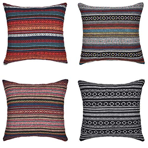 Merrycolor Decorative Throw Pillow Cover for Couch Sofa Bed Set of 4 Bohemian Retro Stripe Cotton Blend Linen Pillow Case 18 x 18 Inch (Only Pillow Cover) (4 Pack) (Covers Unique Sofa)