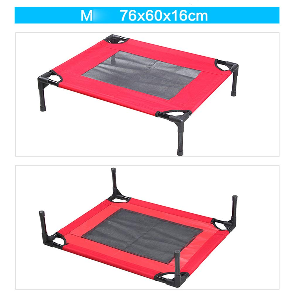 Red MediumPet Camp Bed,Four Seasons Universal pet Supplies Sleeping mat, Removable and Washable pet Bed Kennel Dog Portable Camping Cot (Red,S,M,L,XL),Red,XL